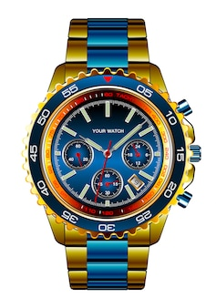 Realistic wristwatch chronograph gold blue metallic luxury white