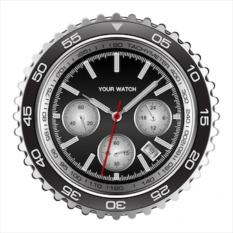 Realistic wristwatch face black steel chronograph luxury white