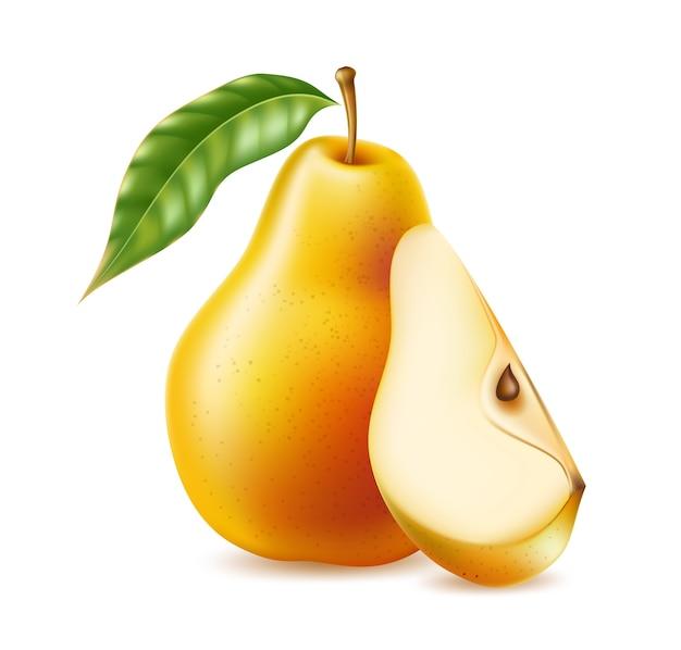 현실적인 노란색과 주황색 배 전체 및 유기농 식품의 절반, 음료 제품. 건강한 식생활, 다이어트를위한 비타민이 풍부한 신선한 달콤한 과일. 천연 제품, 과일 익은 디저트.