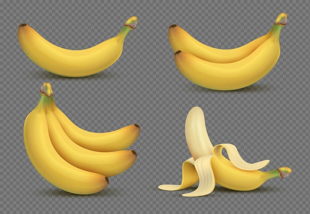 Realistic yellow banana, bananas bunch 3d  isolated on transparent