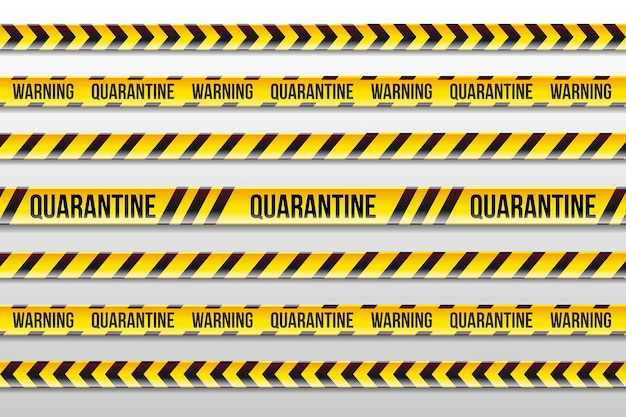 Realistic yellow and black warning quarantine stripes