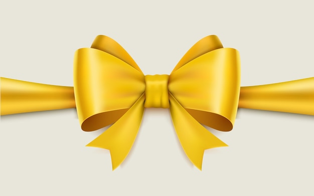 Realistic yellow bow isolated on white.