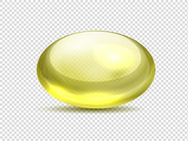 현실적인 노란색 캡슐 알약. 오일 약 비타민, 콜라겐 젤이 든 황금 거품. 벡터 일러스트 레이 션 유기농 비타민
