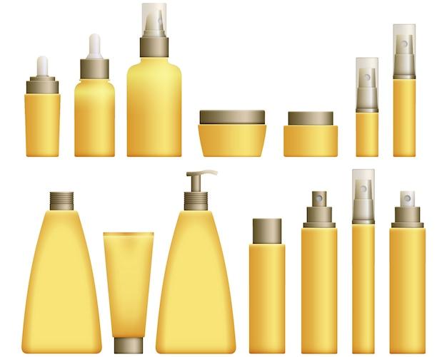 Realistic yellow cosmetics bottles set