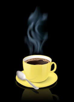 Realistic yellow cup filled with black classic espresso on black background