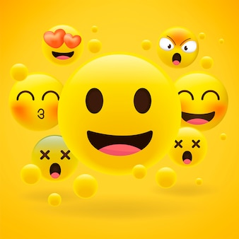 Realistic yellow emoticons on yellow