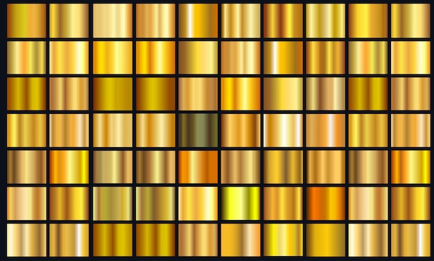 Realistic yellow gradient texture pack. shiny golden metal foil gradient set