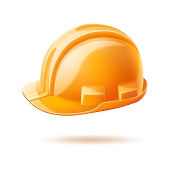 Realistic yellow hard hat