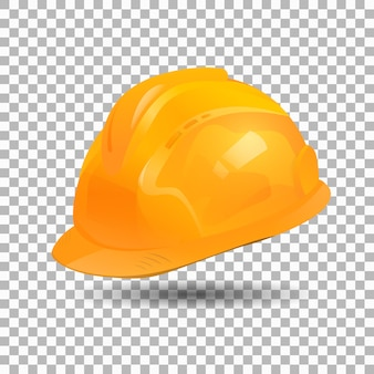 Realistic yellow helmet  collection design. safety hat.