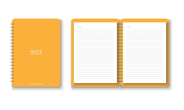 Realistic yellow notebook with a4 paper note