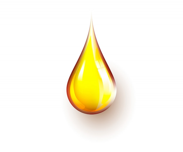 Realistic yellow oil drop isolated on white background. patch of reflected light on oil drop.
