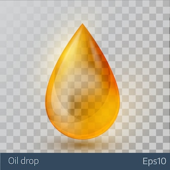 Realistic yellow  oil drop