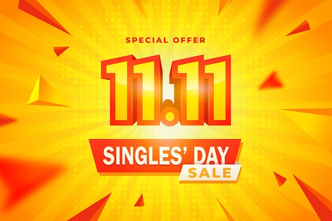 Realistic yellow and orange singles' day