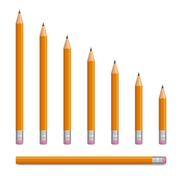 ゴム消しゴム付きのリアルな黄色の鉛筆リードペンシルはさまざまな長さでシャープになっています