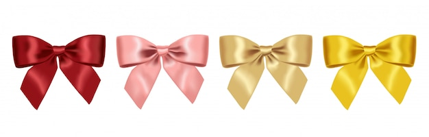 Realistic yellow,red,pink and gold bow, big set bow, festive decoration, party element isolated white background  illustration