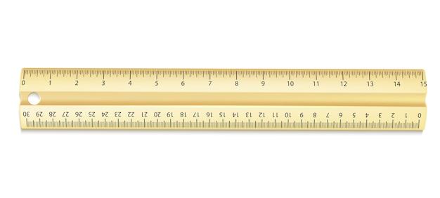 Реалистичная желтая линейка с сантиметрами и дюймами