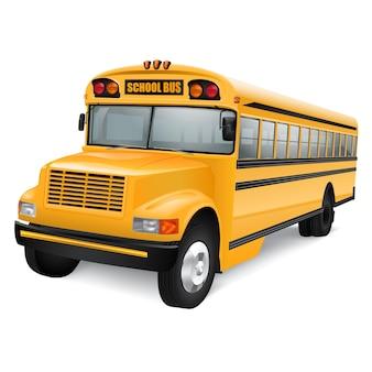 Реалистичный желтый школьный автобус на белом фоне