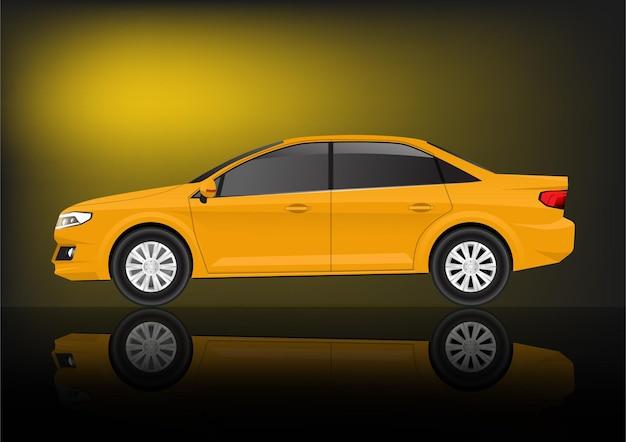リアルな黄色のセダン車の側面図。
