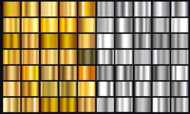 Realistic yellow and silver gradient texture pack. shiny golden metal foil gradient set