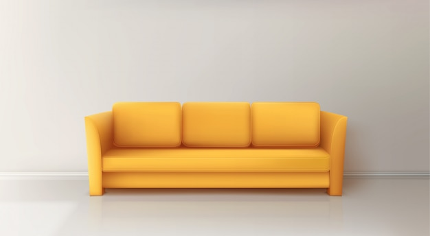 Realistic yellow sofa