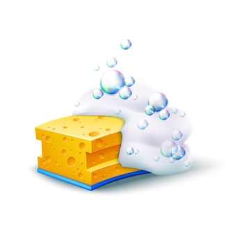 Realistic yellow sponge with colorful soapy bubbles