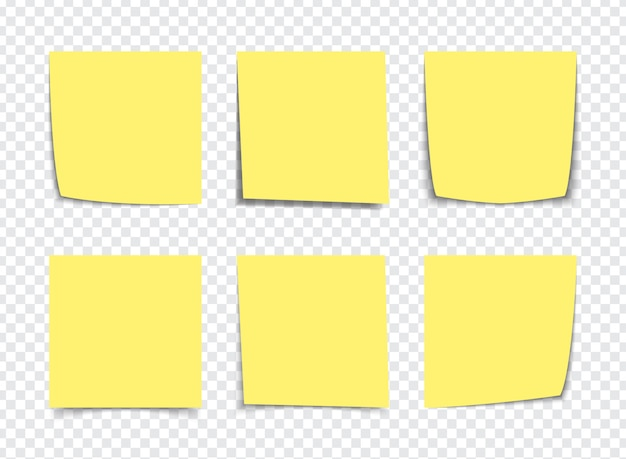 Realistic yellow sticky note notes isolated on white. square sticky paper reminders with shadows