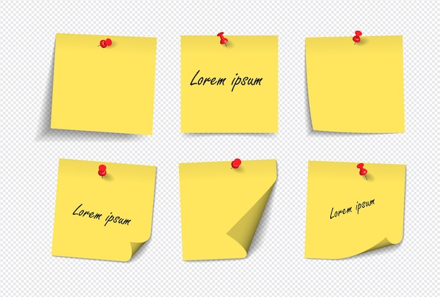 Realistic yellow sticky notes isolated with real shadow on white background.