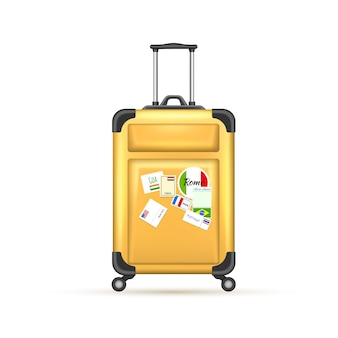 Realistic yellow suitcase, modern plastic bag with rollers and postmarks for travel and vacation design