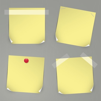 Realistic yellow vector stickers with tapes, pins and curved corners.