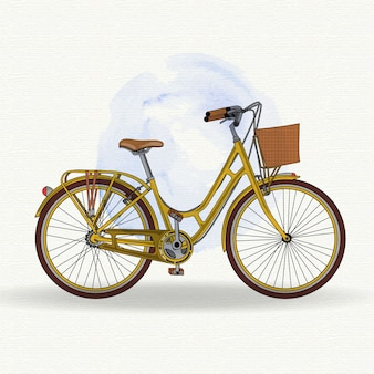 Realistic yellow vintage bicycle