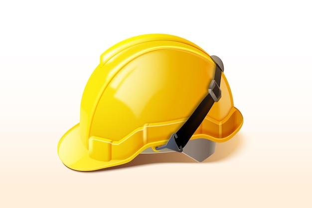 현실적인 노란색 작업자 헬멧 그림