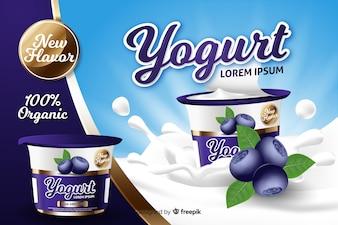 Realistic yogurt advertisement