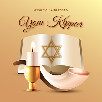 Realistic yom kippur background with candle and horn