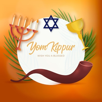 Realistic yom kippur background with candles and horn