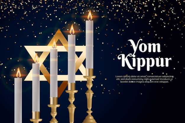 Realistic yom kippur background with candles