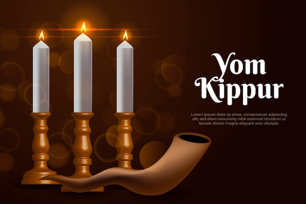 Realistic yom kippur background with horn and candles