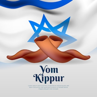Realistic yom kippur background with horns