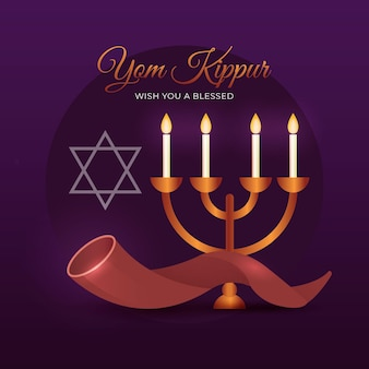 Realistic yom kippur with candles and horn