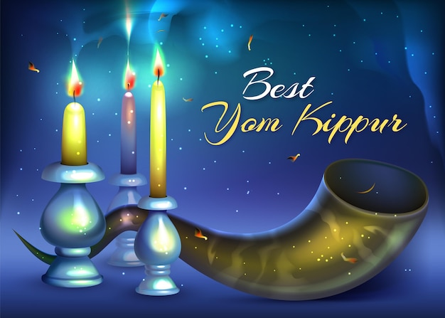 Realistic yom kippur with horn and candles