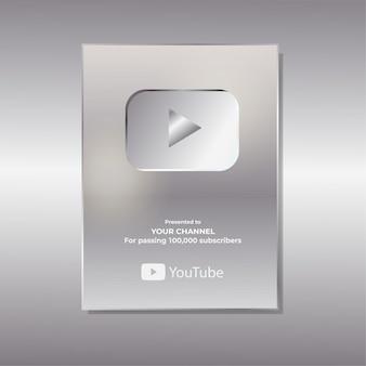 Realistic youtube silver button illustration design