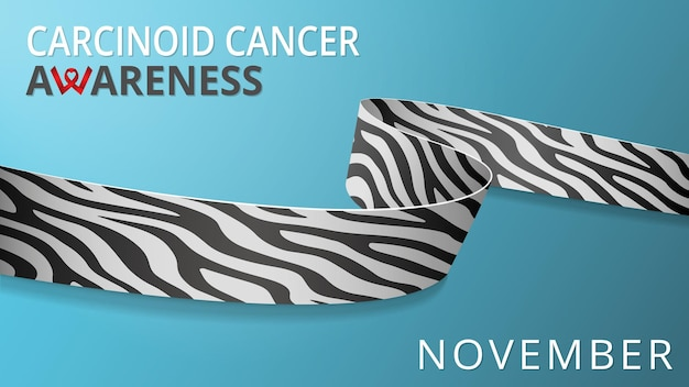 현실적인 얼룩말 인쇄 리본입니다. 인식 카르시노이드 암의 달 포스터. 벡터 일러스트 레이 션. 세계 희귀 질병의 날 연대 개념.