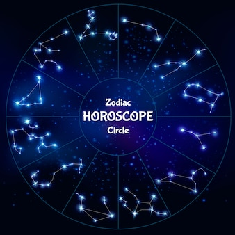 Realistic zodiac horoscope in circle shape with collection of astrological constellations on night sky