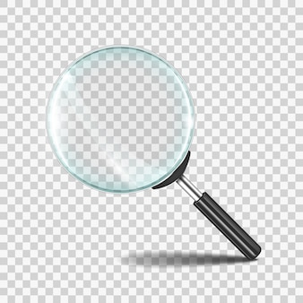 Realistic zoom lens icon with transparent glass