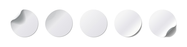 Realistick stickers set. round label with curved corner and shadow on white background.  illustration. collection