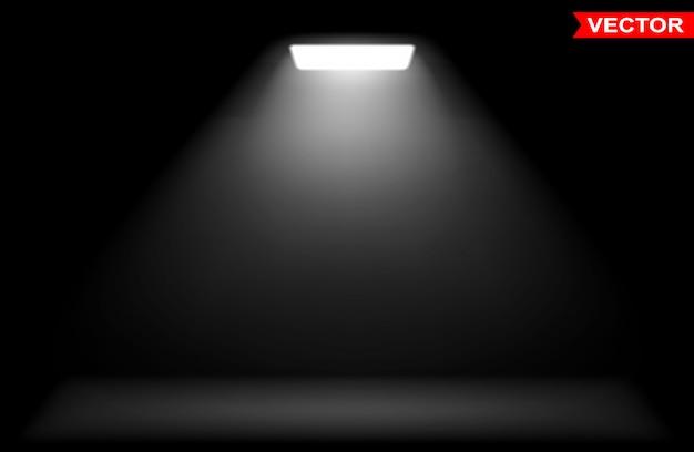 白色スポットライトを使用したリアルなスクエアライト効果