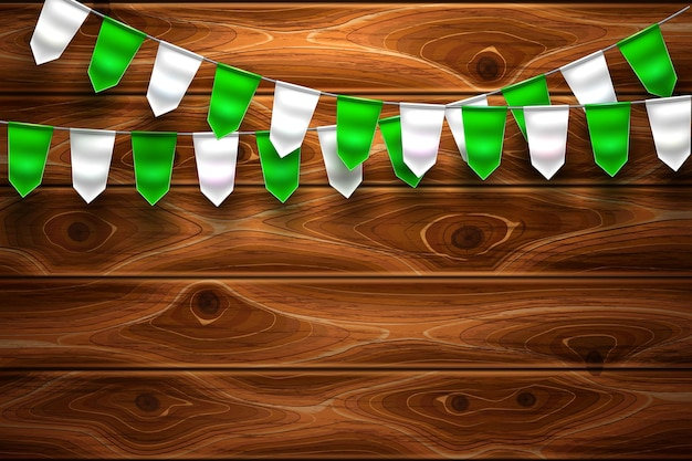 Realistitc saint patrick day green white  bunting flags on wooden  background