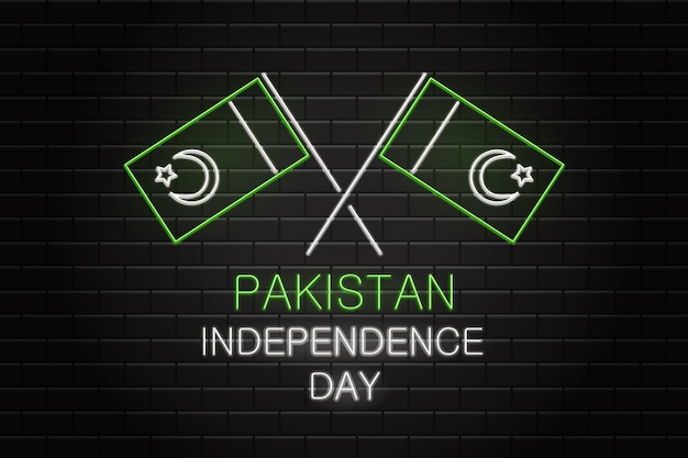 Realitic  neon sign of 14th august pakistan independence day for decoration on the wall background.