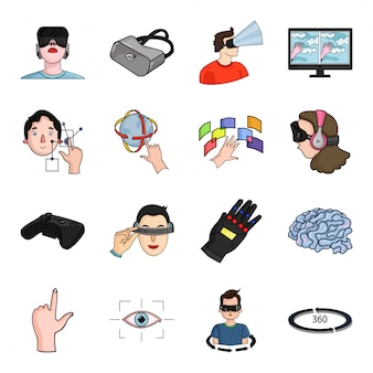 Reality virtual  cartoon set icon.  illustration vr game  .isolated cartoon set icon reality virtual technology .