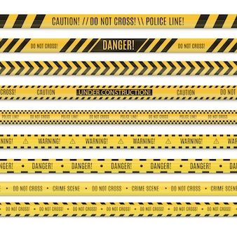 Realsitic бесшовные набор линии полиции и опасности ленты.