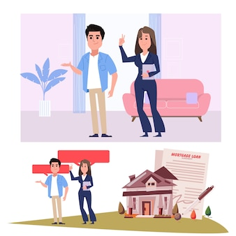 Realtor agent with clients - illustration